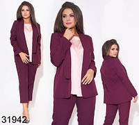 Стильный женский костюм тройка брюки + блузка + пиджак р.48-50,52-54,56-58,60-62