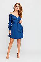 Короткое синее платье клеш с запахом, фото 1