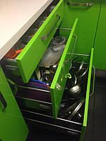 Кухня на заказ Premium Hettech-001 Белый верх салатовый низ