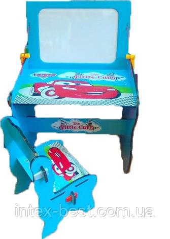 Детская парта Bambi W 091 с магнитной доской и стульчиком «Тачки», фото 2