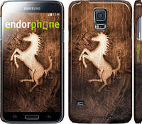 "Чехол на Samsung Galaxy S5 g900h Логотип Феррари на коже ""133c-24"""