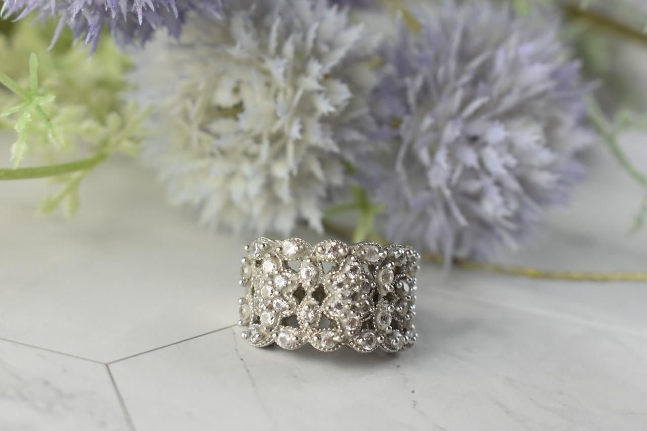 Серебряное кольцо с камнями Бесцветный Турмалин  *АХРОИТ*