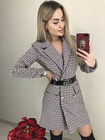 Платье-пиджак в мелкую клетку с поясом