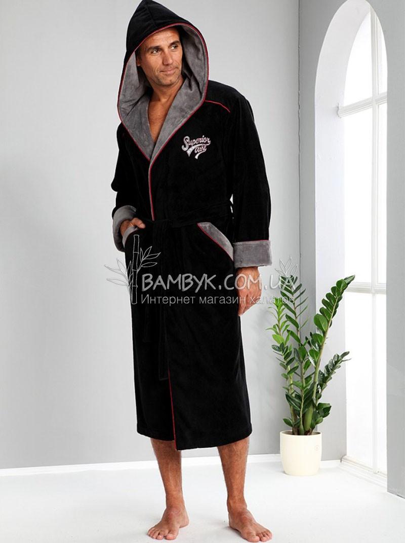 Мужской халат Nusa бамбуковый черного цвета NS-1170