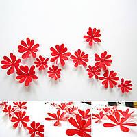 Виниловая наклейка на стену «Ромашки» 12 шт. Декоративная интерьерная наклейка на обои. Красные.