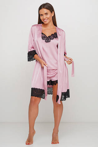 Пудровый комплект майка шортики и халатик, фото 2