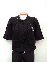 Болеро вязанное черное для девочки 152,164  роста