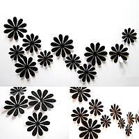 Виниловая наклейка на стену «Ромашки» 12 шт. Декоративная интерьерная наклейка на обои. Черные.