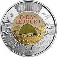 2 долара 2019 Канада - 75 років висадки в Нормандії. Кольорова. З ролу