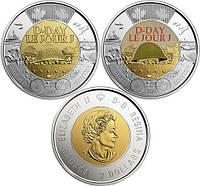 Лот из 2-х монет по 2 доллара 2019 Канада - 75 лет высадки в Нормандии. Простая + Цветная. Из ролла