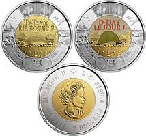 Лот 2-х монет по 2 долари 2019 Канада - 75 років висадки в Нормандії. Проста + Кольорова. З ролу