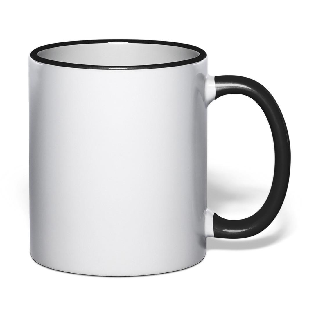 Чашка для сублимации цветной ободок и ручка 330 мл (черный)