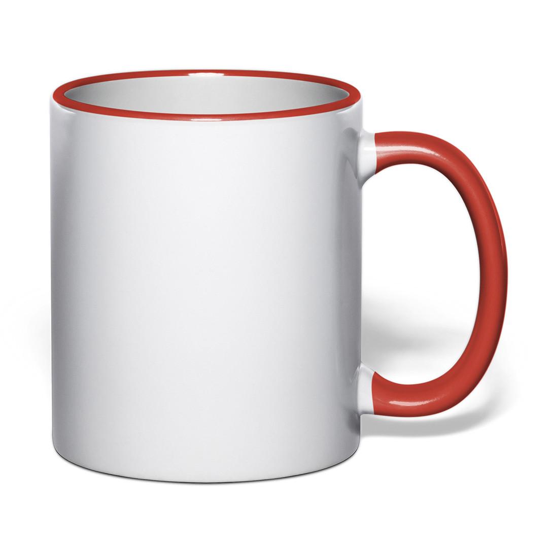 Чашка для сублимации цветной ободок и ручка 330 мл (красный)