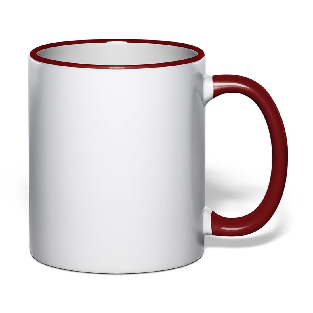 Чашка для сублимации цветной ободок и ручка 330 мл (бордовый)