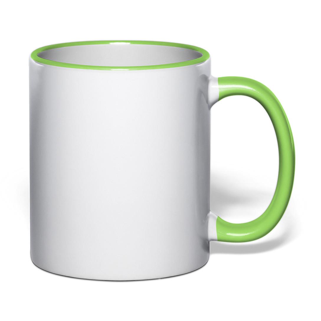 Чашка для сублимации цветной ободок и ручка 330 мл (салатовый)