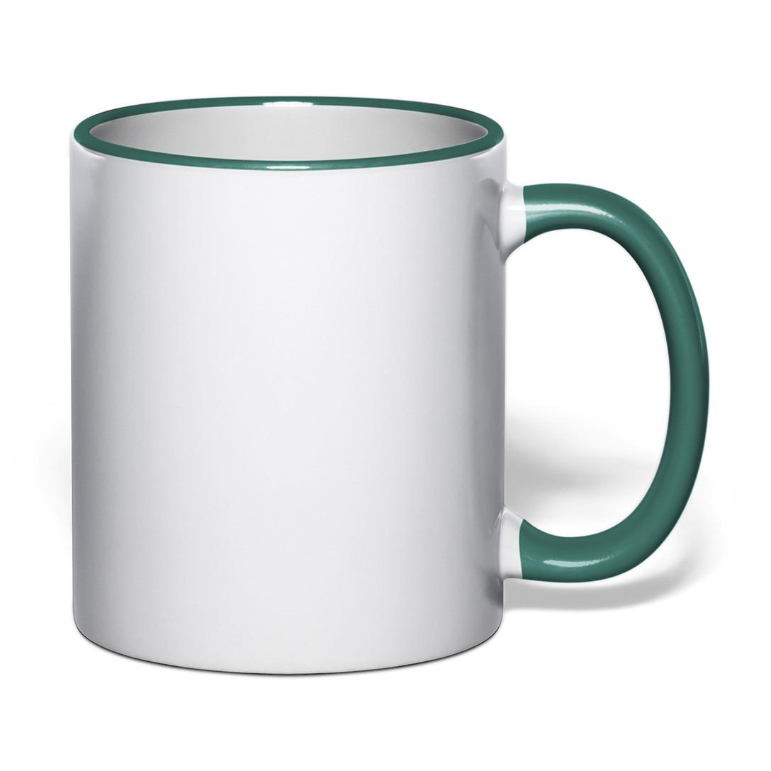 Чашка для сублимации цветной ободок и ручка 330 мл (зеленый)