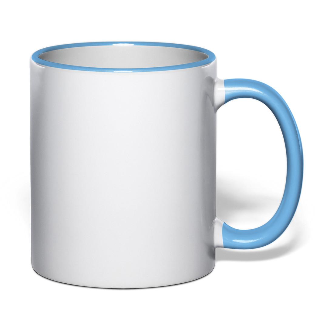 Чашка для сублимации цветной ободок и ручка 330 мл (голубой)