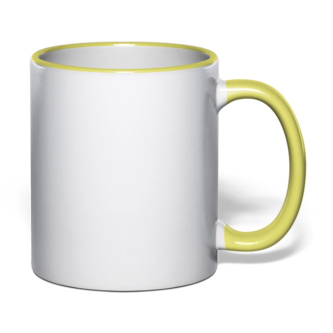 Чашка для сублимации цветной ободок и ручка 330 мл (желтый)