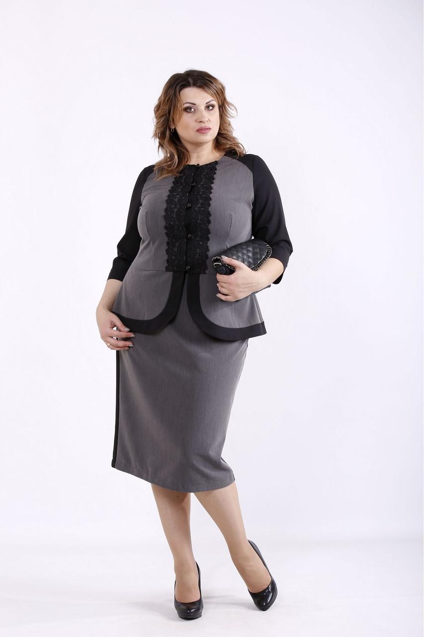 | Нарядный костюм серого цвета с черными вставками батал  большого размера   42-74  01276-1
