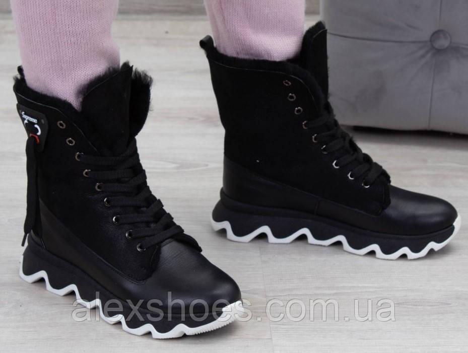 Ботинки молодежные зима на толстой подошве из натуральной кожи от производителя модель БС6020-2