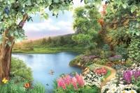 Фотообои, речка, дерево, цветы, Цветущий берег, 16 листов, 196х280см