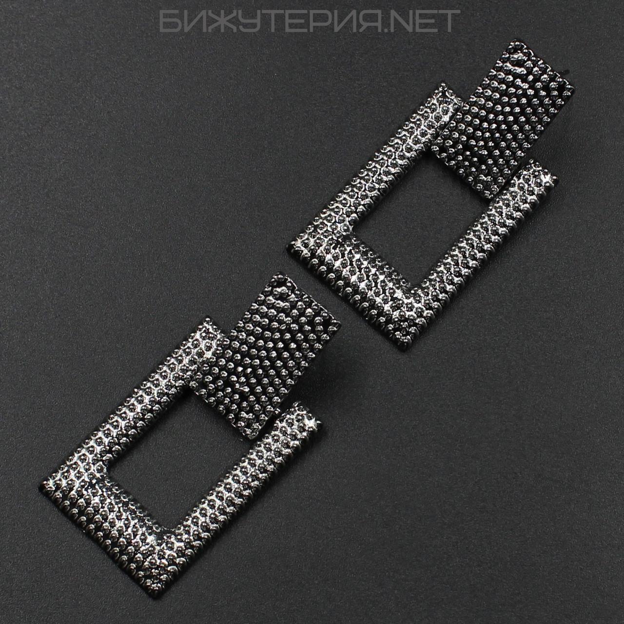 Винтажные серьги JB Геометрия металлические, эмаль серого цвета - 1054578093