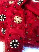 Тесьма декоративная с бусами 4 см (9 м) красная