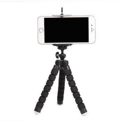 Гибкий мини штатив тринога трипод для телефона и камеры 25 см (осьминог, паук) Черный