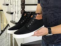 Зимние мужские ботинки, черные на белой подошве