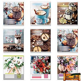 Тетрадь 96 листов клетка Цветы, пирожные, напитки, велосипеды и т.д. (1 Вересня, Тетрада, Бриск, Зошит Украины, Аркуш, Yes)
