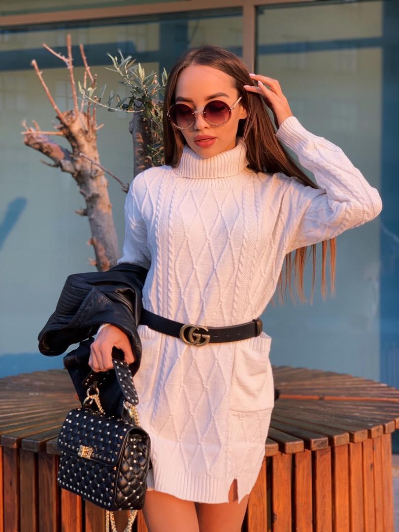 Женский теплый свитер-туника с карманами