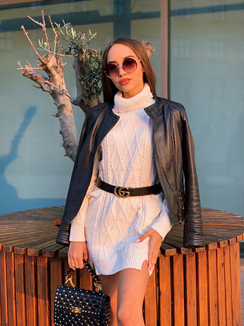 Женский теплый свитер-туника с карманами, фото 2