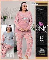 Теплая пижама махра+флис, большие размеры