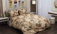 Комплект постельного белья евро размер Вилена бязь Голд Кофе