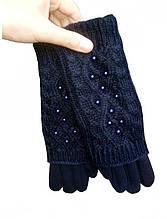Перчатки теплые женские синие сенсорные 024А