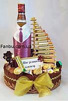 """В подарок мужчине, оформление спиртного и шоколадная лестница """"Шаг за шагом к успеху"""""""