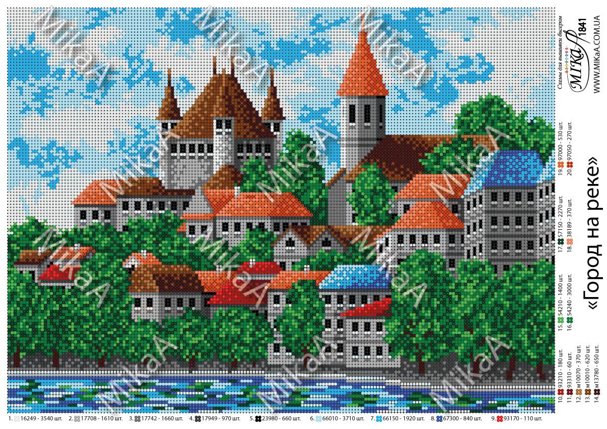 """Схема для полной зашивки бисером - """"Город на реке"""""""
