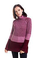 Триколірний плетений жіночий светр