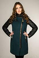 Кашемировое пальто с кожанными рукавами (бктылка), разные цвета