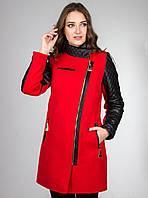 Кашемировое пальто с кожаными рукавами (красный), разные цвета