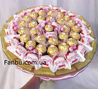 """Конфетный букет из  raffaello и ferrero rocher """"Розовое пламя""""-51 конфета, фото 1"""