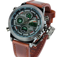 Армейские наручные часы AMST Brown Кориченевый / Наручные мужские механические часы / Часы наручные мужские / Якісні / Подарок