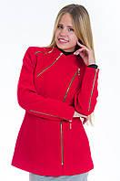 Короткое красное кашемировое полупальто с косой молнией, разные цвета
