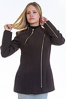 Короткое коричневое кашемировое полупальто с косой молнией, разные цвета