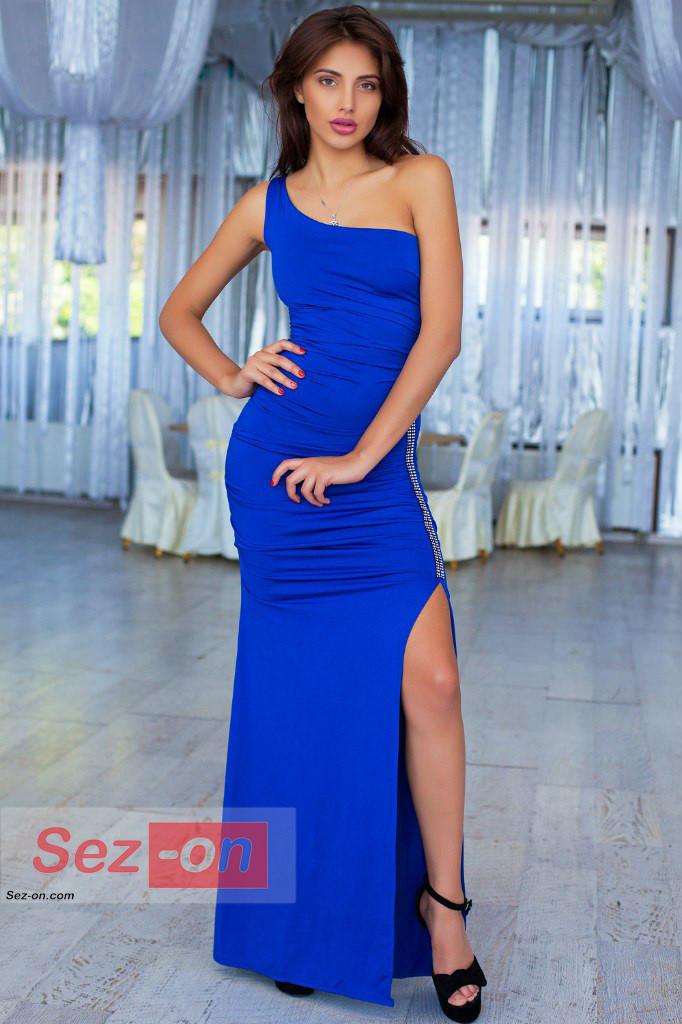 Сукня жіноча довга з асиметричним вирізом ― Синій