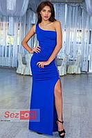 Платье женское длинное с ассиметричным вырезом - Синий