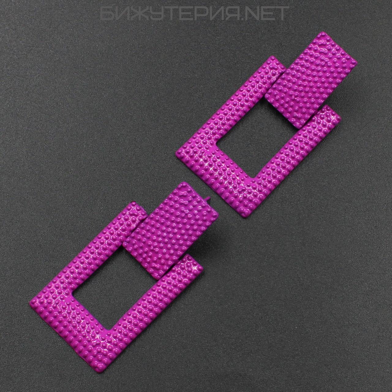 Винтажные серьги JB Геометрия металлические, эмаль розового цвета - 1054590600