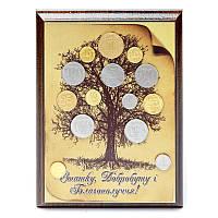 Денежное дерево с монетами картина на металле подарок