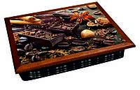Поднос на подушке  BST 040293 44*36 коричневый шоколад, зерна кофе, корица