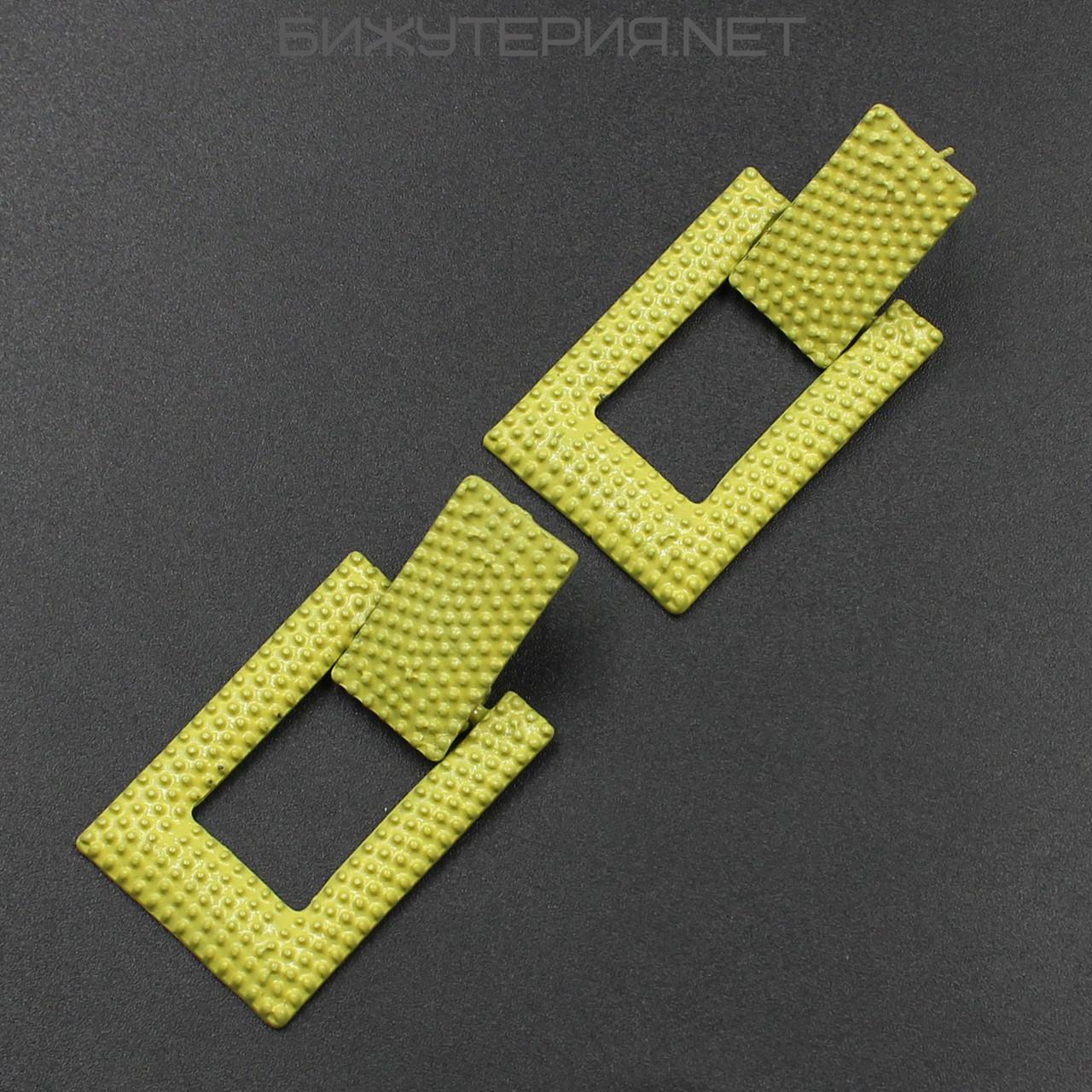 Винтажные серьги JB Геометрия металлические, эмаль желтого цвета - 1054590761
